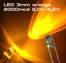 10 Stück Ultrahelle LED 3mm orange LEDs SUPERHELL ORANGE 2000mcd …