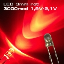 10 Stück Ultrahelle LED 3mm rote LEDs SUPERHELL RED rot 3000mcd