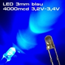 Ultrahelle LED 3mm blau LEDs SUPERHELL BLUE 4000mcd
