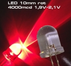 10 Stück Ultrahelle LED 10mm rot LEDs SUPERHELL RED 4000mcd