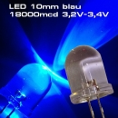 10 Stück Ultrahelle LED 10mm blau LEDs SUPERHELL BLUE 18000mcd