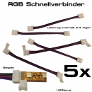 5x LED SMD RGB Schnell Verbinder WS2801 Kabel Connector Adapter 4 Pin Stecker für Strip 12mm